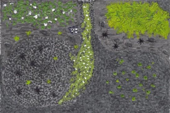 Patio, vue de dessus, au crayon, feutre et peinture acrylique